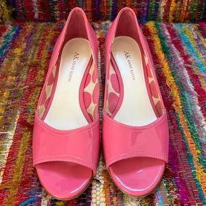 Anne Klein Pink Patent, Peep Toe, White Wedge